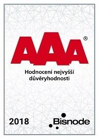 Certifikát AAA potvrzení nejvyšší důvěryhodnosti pro firmu DCom, spol. s r.o.
